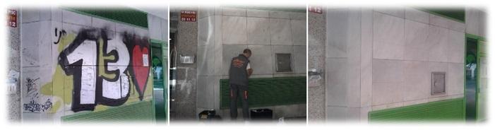 Limpieza de graffiti en mármol + Protección
