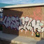 Limpieza de graffitis en chino proyectado - Antes