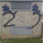 Limpieza de graffiti en chino proyectado - antes