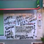 Limpieza de graffiti en mármol -antes